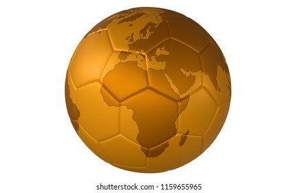 3D golden football (soccer ball) with map on white background. Focus on Europe and Africa