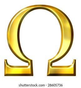 3d golden Greek letter omega