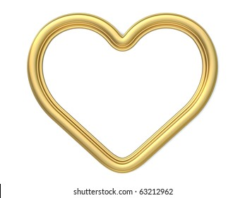 3D golden heart-shaped frame isolated on white background