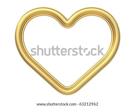 3 D Golden Heartshaped Frame Isolated On Stock Illustration 63212962 ...