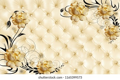 3D Golden jewelry flower on leather background. Wallpaper for walls.