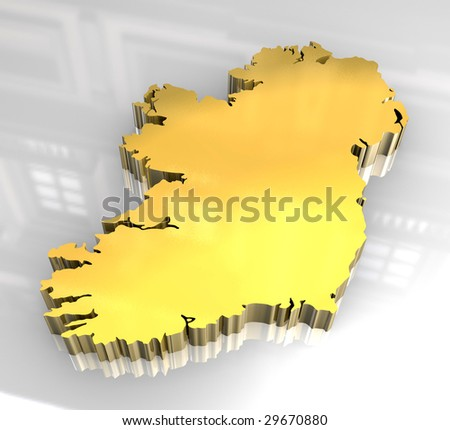 Map Of Ireland 3d.Royalty Free Stock Illustration Of 3 D Golden Map Ireland Stock