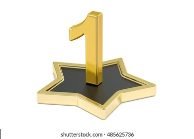 3D golden number 1 on star podium, 3D rendering isolated on white background