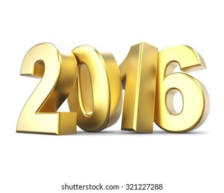 3D golden number 2016 - new year concept