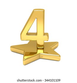 3d golden number 4 four star podium
