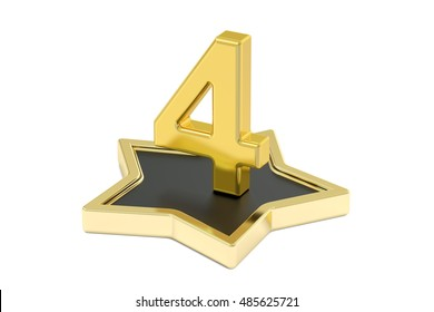 3D golden number 4 on star podium, 3D rendering isolated on white background