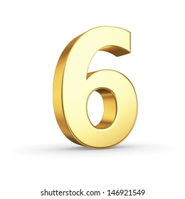 3D golden number 6 - isolated with clipping path