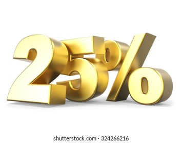 3D golden percentage discount collection - version 25 % off