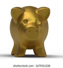 3d Golden piggy bank isolated on white background.