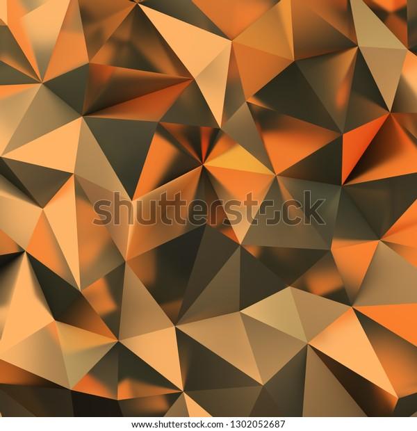 3d golden polygonal background. 3d image.