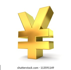 3d golden sign collection - yen