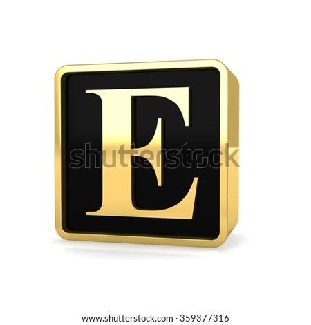 3d golden square box letter e with gold metal frame alphabet perspective render