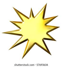 3d golden star burst