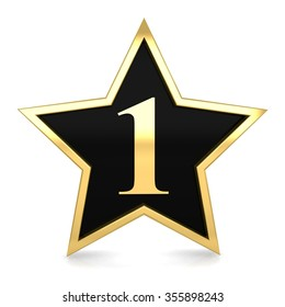 3d golden star number 1 one with gold metal frame render