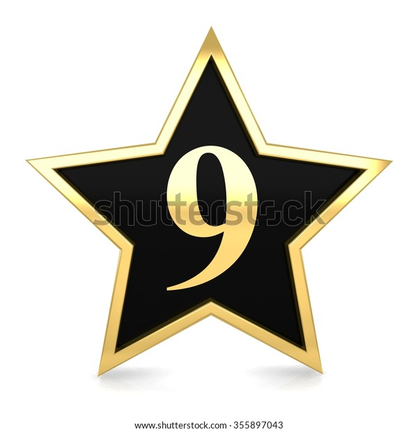 3d Golden Star Number 9 Nine Stock Illustration 355897043