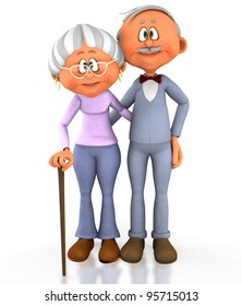 3D grandpa and grandma - isolated over a white background