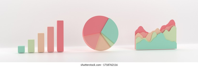 3D graph. Set of business bar, pie and ramp charts. Pastel palette