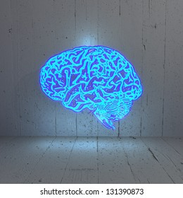 3D graphic Illuminated bluelight   brain in a stylish background