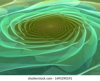 3D Graphic Illustration, Glowing Green Neon Colored Disc, Abstract Geometric Circular Curved Symmetrical Shapes, Bright Glowing Ring of Light, Background Image Artistic Resource, Ripple Effect