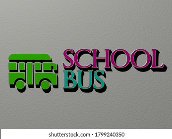 3D graphical image of school bus vertically along with text built by metallic cubic letters from the top perspective, excellent for the concept presentation and slideshows for illustration and