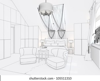 3D Graphical sketch of an interior