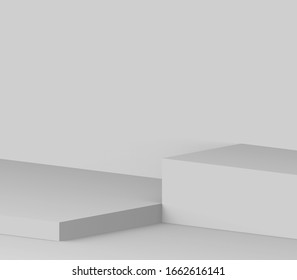 3d gray white stage podium scene minimal studio background. Abstract 3d geometric shape object illustration render. Display for online business product.