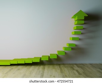 3D green arow on white wall pointing up, while rowing exponentialy