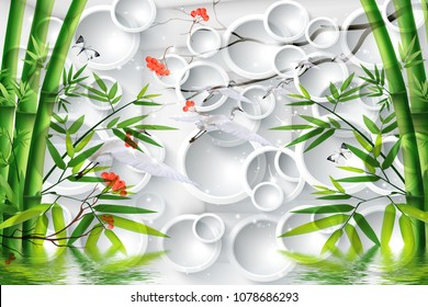 3d Green bamboo with white circles background.