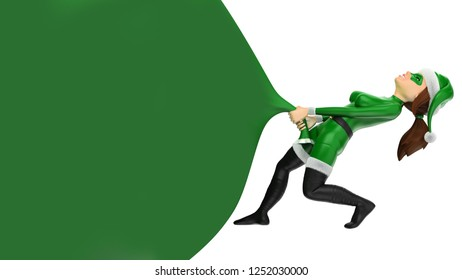 3d green christmas people illustration. Woman superhero pulling a huge gift bag. Blank. Isolated white background