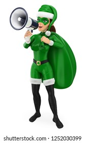 3d green christmas people illustration. Woman superhero with a sack talking on a megaphone. Isolated white background.