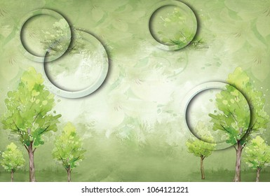 3d Green circles with green trees texture background wall.