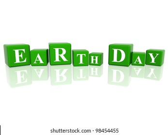 3d green cubes with letters makes Earth Day