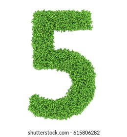 3D Green leaves Letter five on White Background with alpha channel