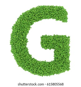 3D Green leaves Letter G on White Background with alpha channel