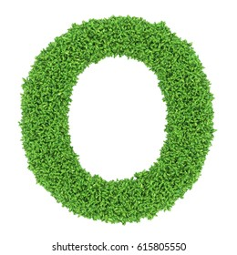 3D Green leaves Letter O on White Background with alpha channel