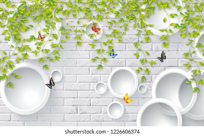3D green leaves on bricks background with butterflies, wallpaper for walls.