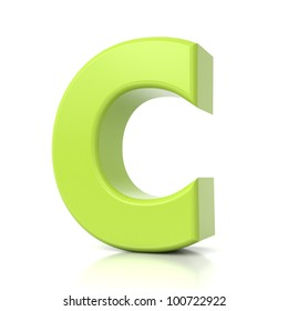 3D green letter collection - C