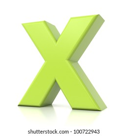 3D green letter collection - X