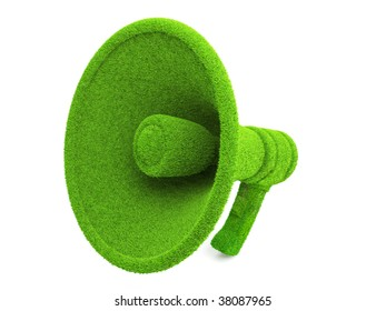 3d Green Megaphone, ecology concept isolated on white background