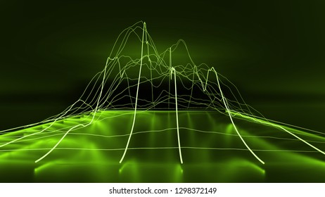 3D Green modern lined chart graph business on dark background. 3D renderings.