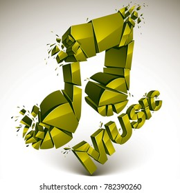 3d green shattered musical notes with music word. Art melody transform symbol broken into pieces.