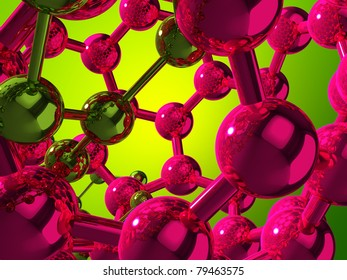 3D green and violet reflective atoms on green background