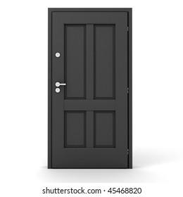 3d grey door on white background
