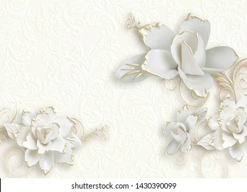 3D GREY EMBOSS FLOWER WITH CREAM BACKGROUND-ILLUSTRATION