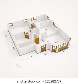 3D ground plan with walls on white ground