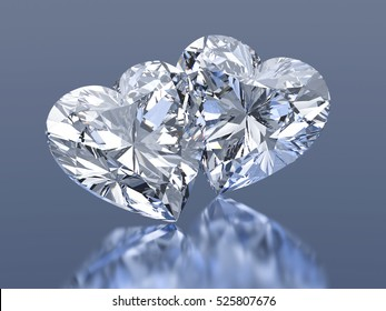 3d Group of 2 diamonds hearts stone