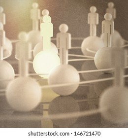 3d growing light human social network and leadership as vintage style concept