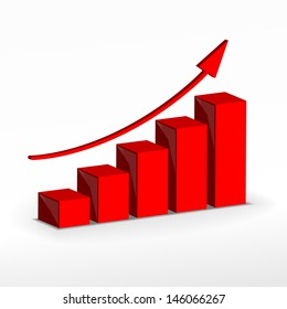 3D Growth bar graph. Business concept. . Raster version. Vector version available in my portfolio.