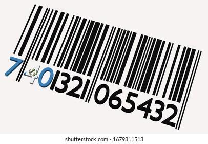 3d code-barres guatémaltèque sur fond blanc