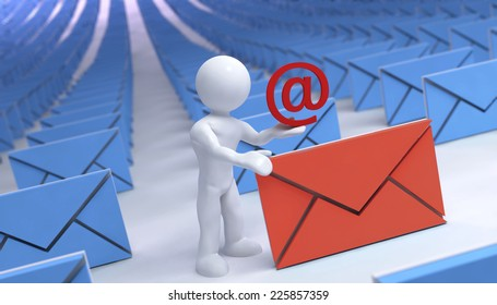 3d guy and abstract email letter